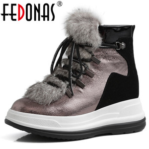 FEDONAS Brand Women Wool Ankle Boots Winter Warm Short Boots Genuine Leather Office Casual Shoes Woman Flats Platform Boots