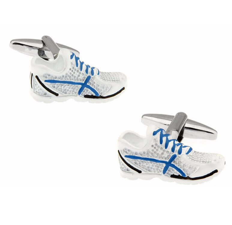 Running Shoes Cuff Links For Men Sport Design Quality Brass Material White Color Cufflinks Wholesale&retail