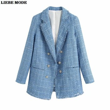 2020 Spring Autumn Blue Plaid Tweed Jacket Women Vintage Suit Jackets Woman Retro Double Breasted Blazer Coat Femme spring 2019 new euro american style slimming coat suit women jacket women coat button notched double breasted plaid