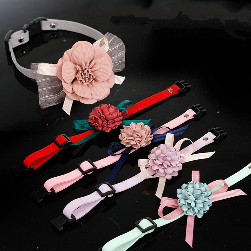 Pet Supplies Small Dogs Hand Holding Rope Pet Collar Adjustable Stereo Flower Pet Collar