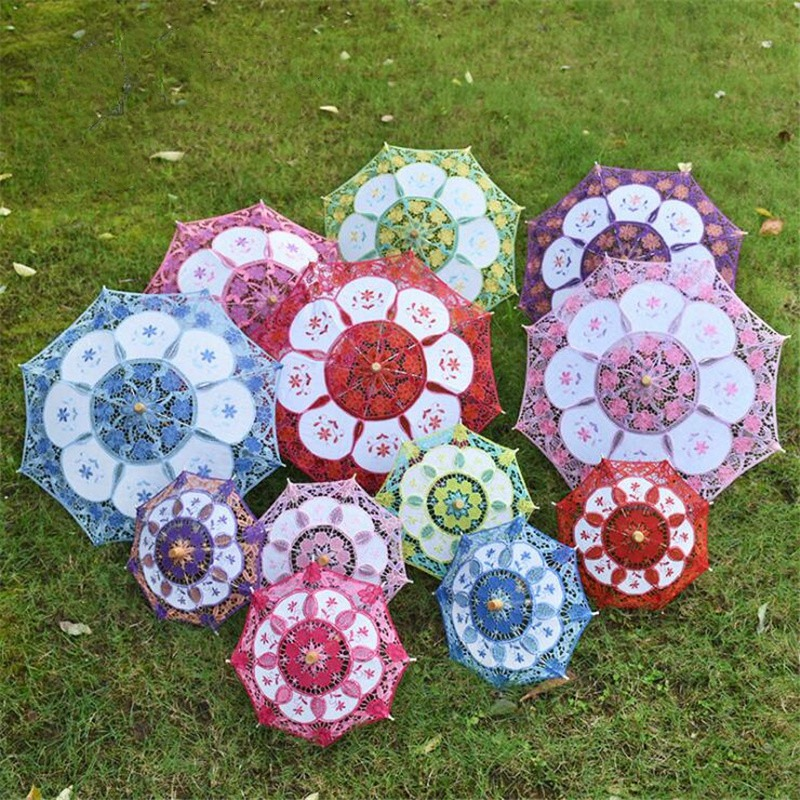 Free Shipping Romantic Handmade Colorful Lace Parasol Umbrella Wedding Bridal Accessories - 6 Colors Can Choose
