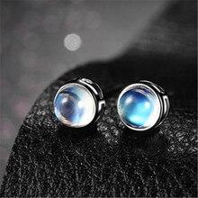 Prata elegante natural moonstone brincos do parafuso prisioneiro cor azul luar brincos feminino fasion brincos jewery novo