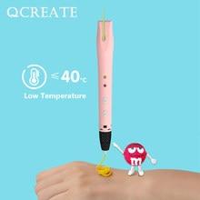 Qcreate baixa temperatura 3d impressão caneta QW01-14S inclui 20 cores 100 metros 1.75mm pcl filamento 3d impressora canetas crianças presentes