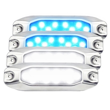 2PCS Blue & White Combo Pack 10-30VDC Multi-Voltage 7 Surface Mount LED Underwater Light Lamp