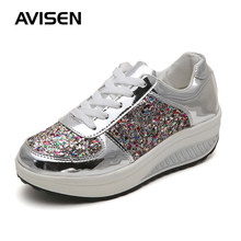 Women Sneakers Fashion Autumn/Winter Bling Increased Lace Up Leather Wedges Woman Casual Shoes large Size 42