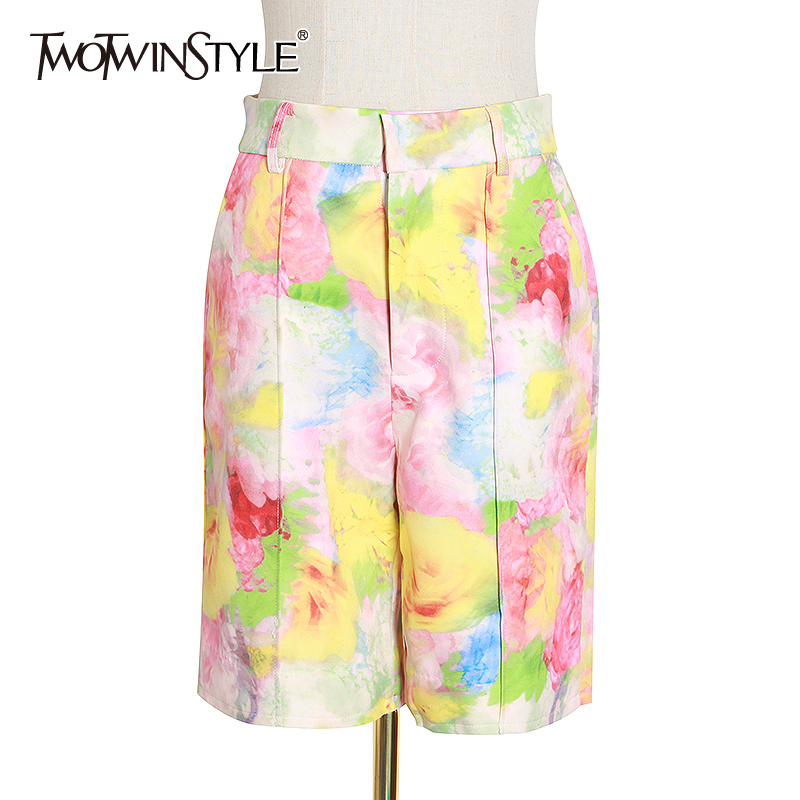 TWOTWINSTYLE Print Hit Color Casual Shorts For Women High Waist Zipper Button Short Pants Female 2020 Summer New Clothing
