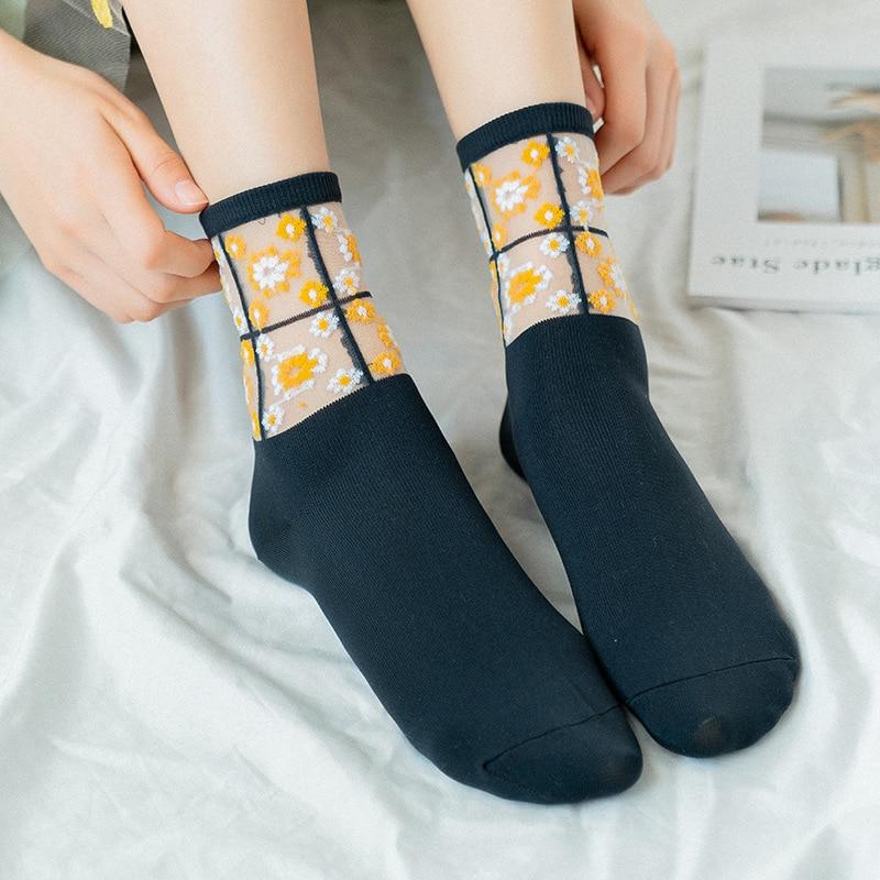 Socks Women 2020 Spring New Fashion Floral Socks Patchwork Female Cute Thin Korean Style Long Jacquard Funny Women Socks