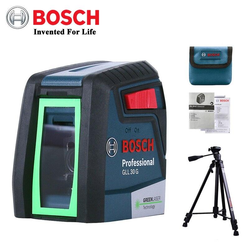 BOSCH лазерный нивелир GLL30G вертикальный горизонтальный зеленый светильник высокой точности двухлинейный инструмент в помещении или на откры...