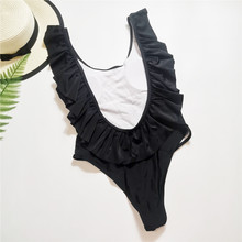 Women Sexy Backless Swimwear Summer Black One Piece Swimsuit Monokini Ruffle Strap High Waist Bodysuit Solid Bathing Suit Female(China)