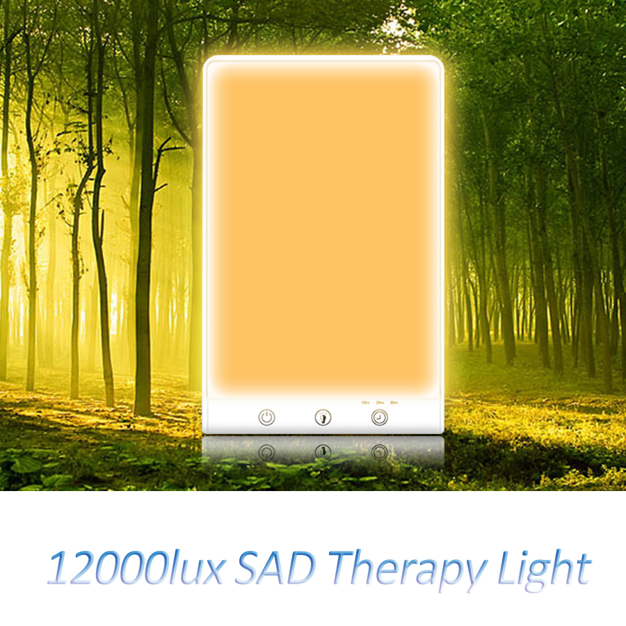 12000 lux conduziu a lâmpada triste da terapia 3200 k 5500 k timming 3 modos 5 v simulando a desordem afetiva sazonal natural da cura da luz do dia