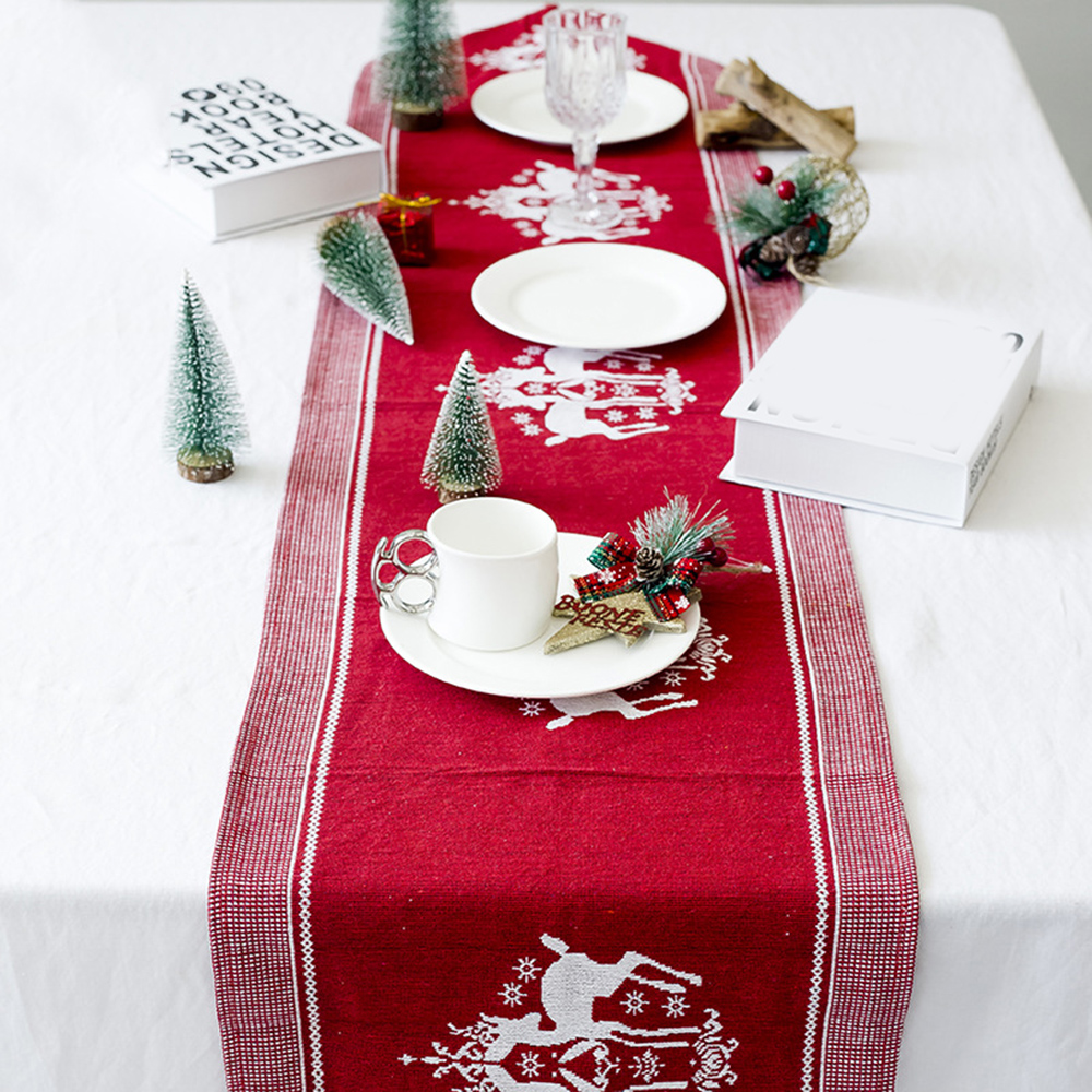 1 X Christmas Elk Table Runner Xmas Tablecloth Cover Home New Year Decoration UK For Christmas Decoration Table Runner