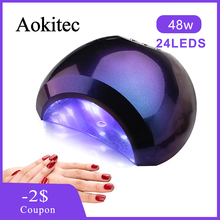 Aokitec 48W UV LED Nail Lamp Gel Polish Curing 3 Timer UV Lamp with Smart Sensor Lamp for Manicure Home Salon Led Nail Dryer 48w nail lamp 2in1 smart phototherapy electric machine nail dryer for curing nail gel polish led uv lamp for hand and foot
