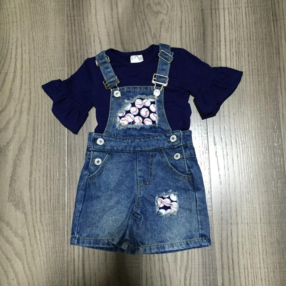 Baby Kids Overalls Outfits Girl Blue Shirt With Baseball Denim Overalls Children Ball Game Set