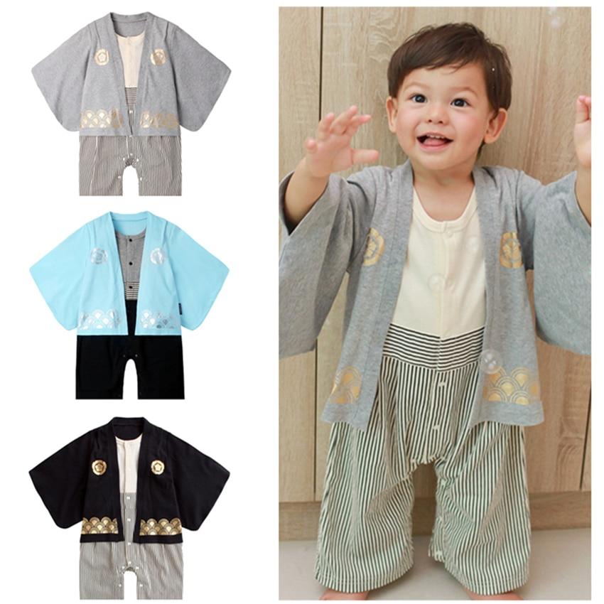 Newborn Traditional Japanese Style Boys Rompers Toddler Samurai Haori Kimono Cosplay Japan Fashion Asian Clothng Pant Set