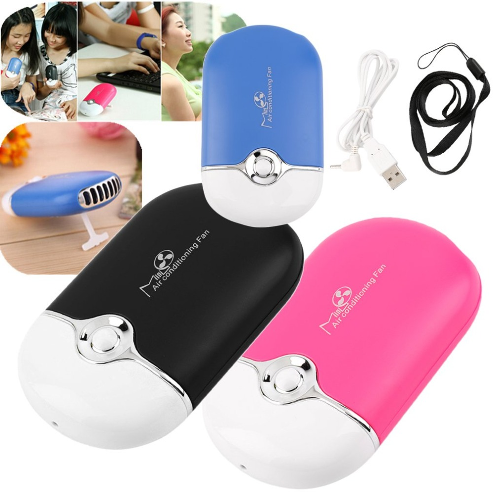 Air Conditioning Hand Held USB Gadgets Air Conditioning Fan USB Rechargeable Mini Fan Lithium Battery Cooling Fan
