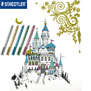 Image 4 - Staedtler 8323 금속 색상 마커 펜 사용 DIY 카드 사무실 및 학교 편지지 용품 5 개/몫