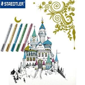 Image 4 - Staedtler 8323 kolory metaliczne marker długopis używać do DIY karty biurowe i szkolne artykuły papiernicze 5 sztuk/partia