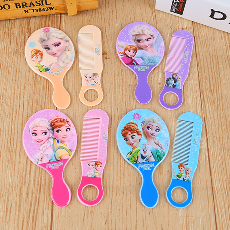 2pcs/set Disney Frozen Cartoon Children Mirror+comb Elsa Doll Accessories Girl Birthday Gift Cosmetic Toy Portable Kid Mirror