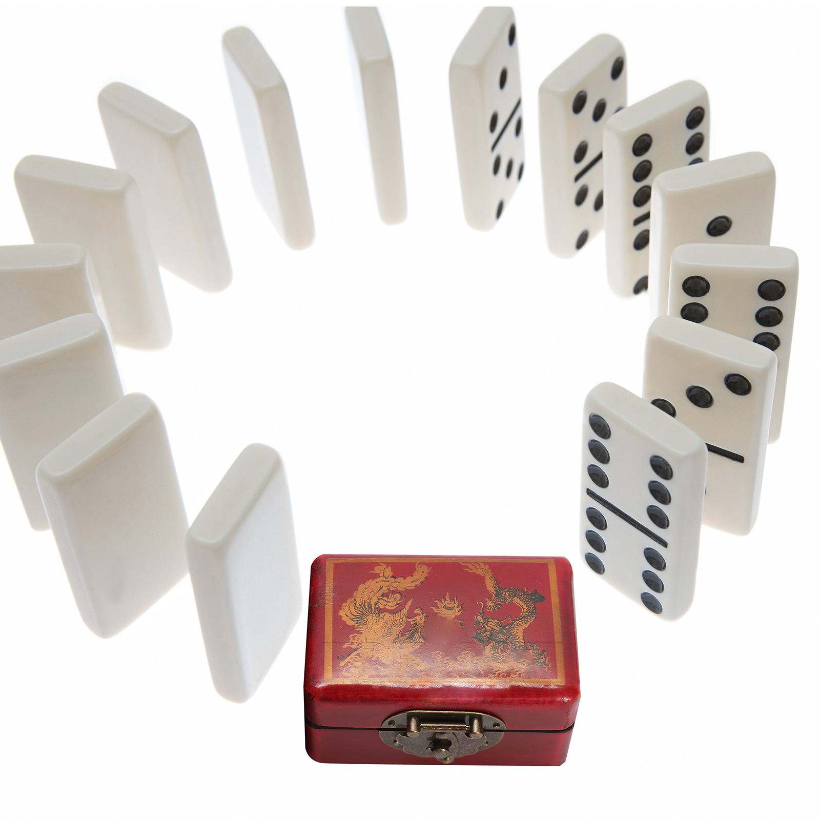 28 Pieces Educational Portable Antique Domino Box Handmade Retro Dominoes Set Game Set Classic Dominoes For Children Adult