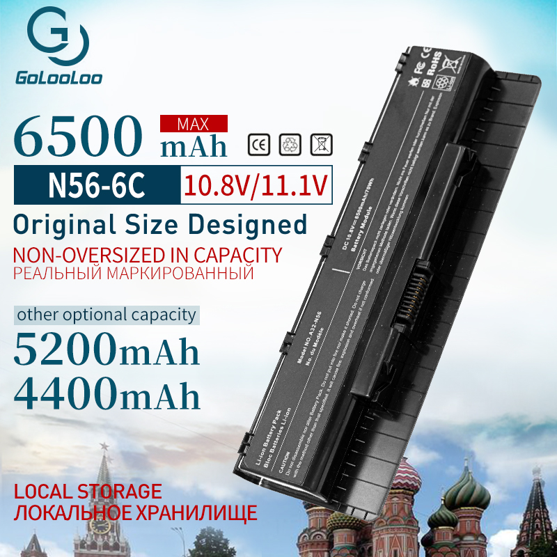 Golooloo 4400mAh 11.1V Laptop Battery For Asus A33-N56 N56D N56DP N56V N56VJ N46 N46V A31-N56 A32-N56 N46VJ N46VM N46VZ N56