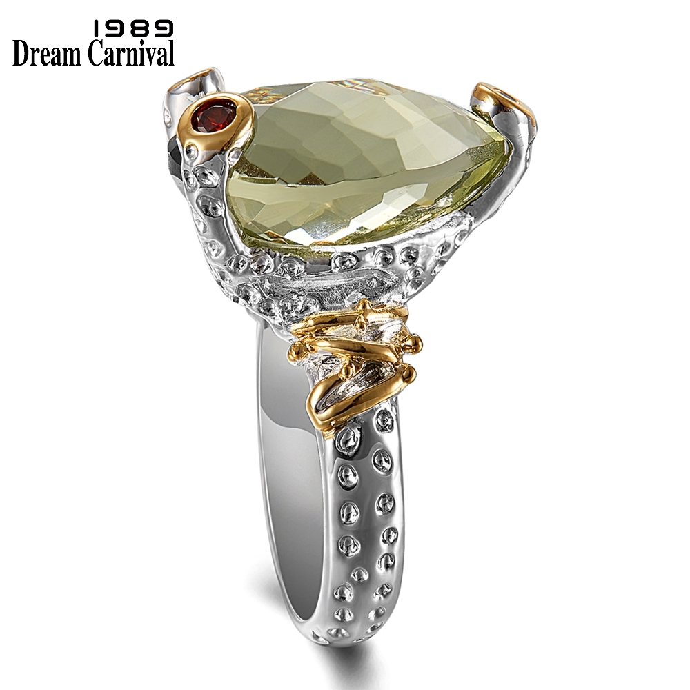 DreamCarnival 1989 Little Frog Look Solitaire Ring for Women Wedding Anniversary Must Have Radiant Cut Olivine Zirconia WA11722(China)