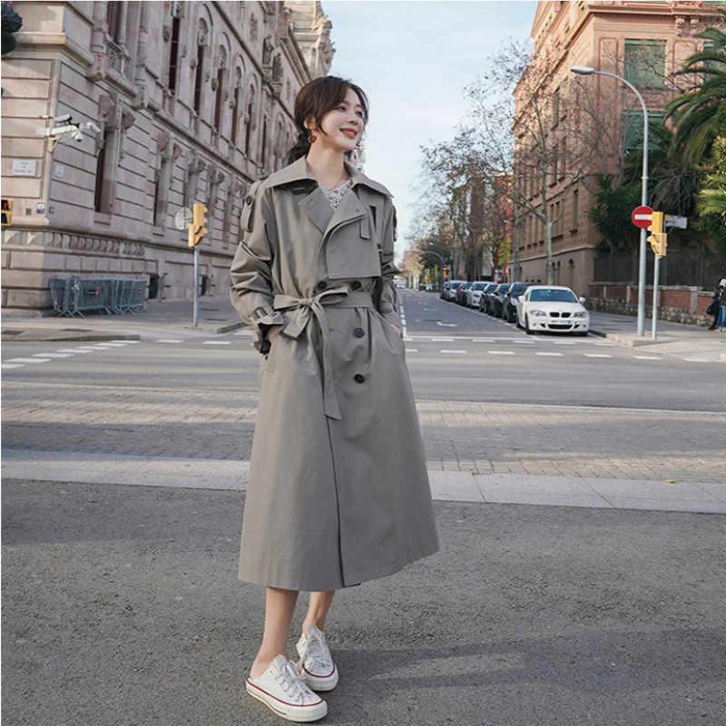Тренчкот женский двубортный с поясом, модная Длинная Верхняя одежда в стиле оверсайз, серый/хаки, весна-осень 2020