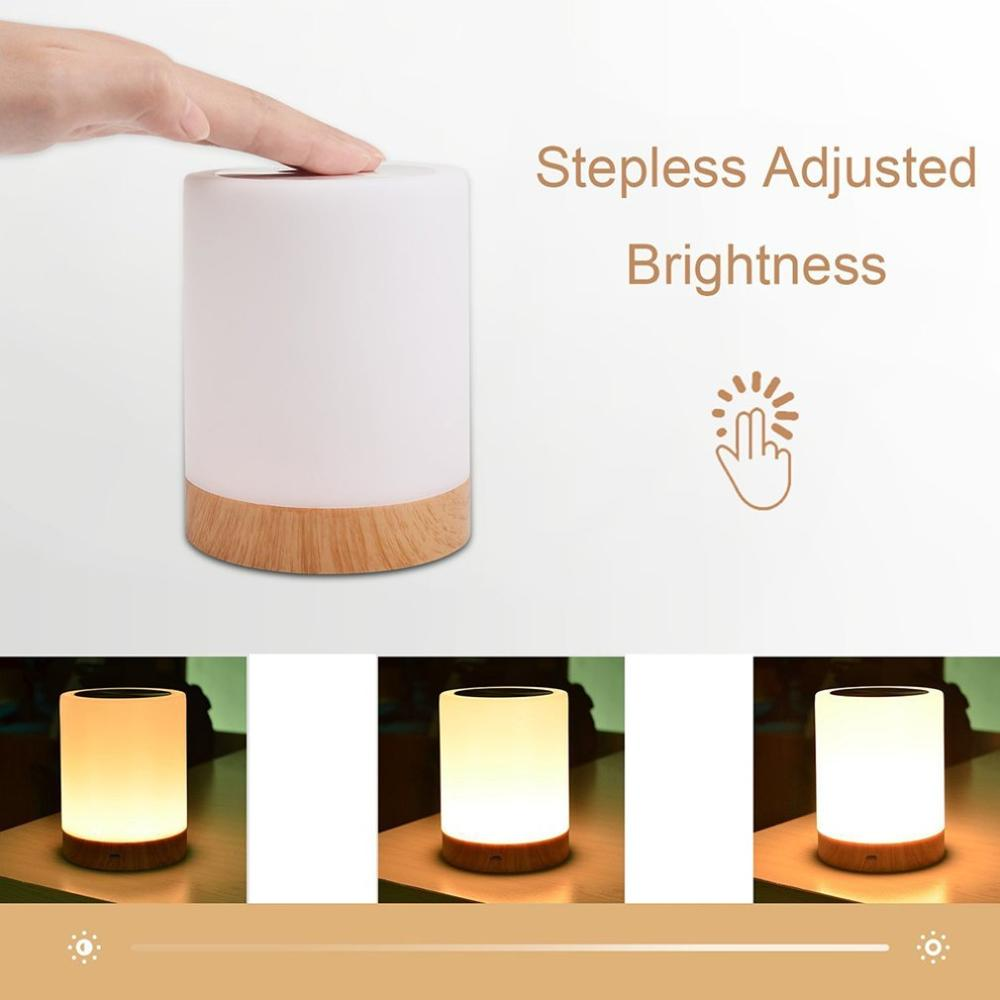 Wood Grain Night Light Lamp Atmosphere Multicolor Bedroom Home Decor Gift USB LED Colorful Dimmable Touch Control Portable Table