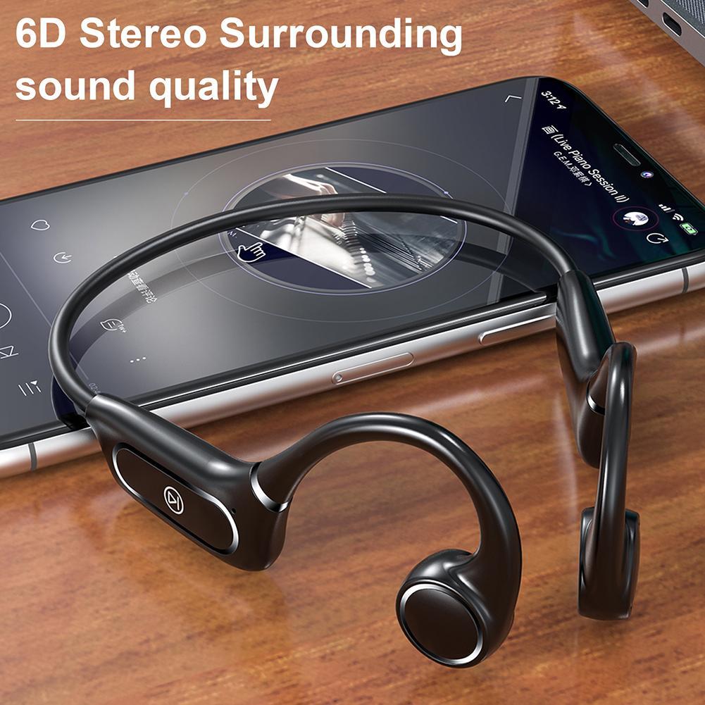 Беспроводные наушники H12 с поддержкой Bluetooth 5,0, водонепроницаемые наушники с костной проводимостью IP55, уличная спортивная гарнитура с микро...