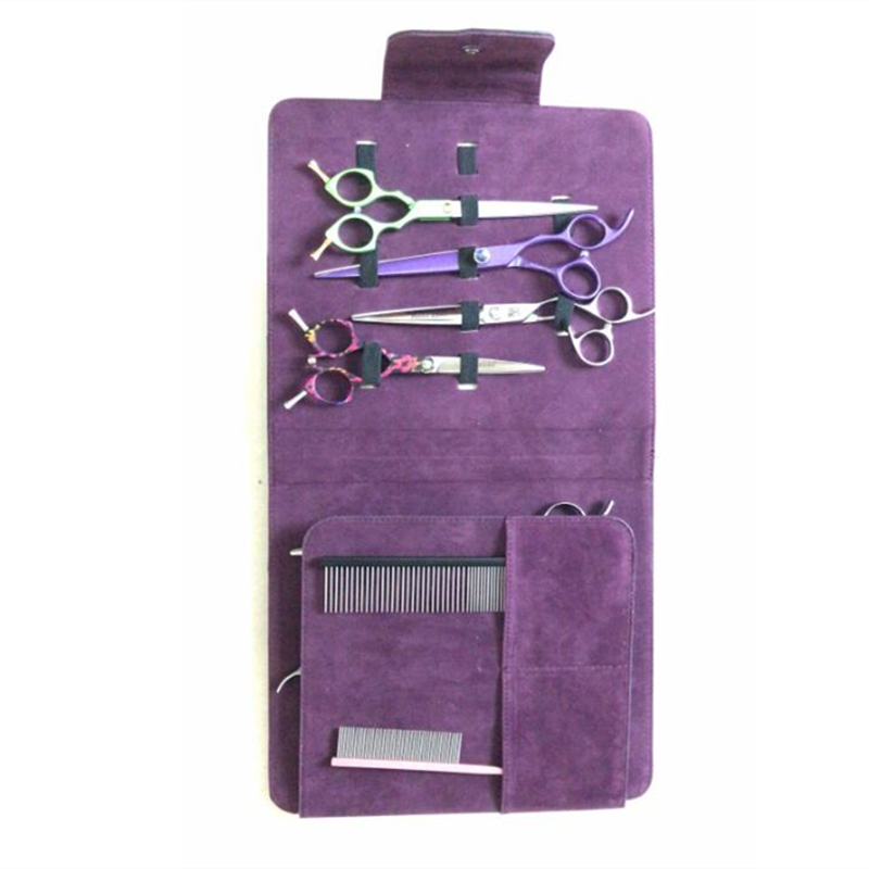 10 Installed Professional Hair Scissors Leather Case Makeup Comb Shears Bag Barber Makas Bags Hairdresser Accessories Tools Bag