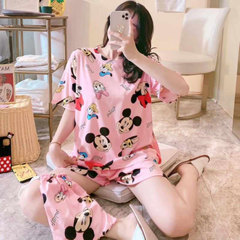 2020 Caiyier New Women's Pajamas Set Pajamas Set Two-Piece Cartoon T-shirt+Shorts Pajamas Cute Caiyier Girls Pajamas Home