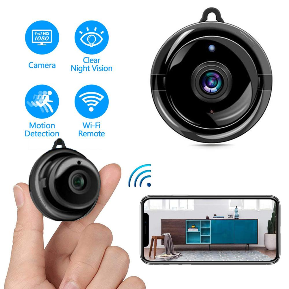 <font><b>Mini</b></font> Home <font><b>WIFI</b></font> Round IP <font><b>Camera</b></font> 1080P Small HD Surveillance Digital Action Cam Video Recorder with Night Vision DVR for Indoor image