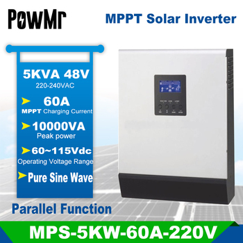 Inversor híbrido de onda sinusoidal pura con PCB de paralelización inlcuido, 5KVA, 48V, 220V, MPPT 60v-115v integrado de 60A, controlador de carga PV, cargador de CA, modelo MPS-5K, envío desde Europa 1