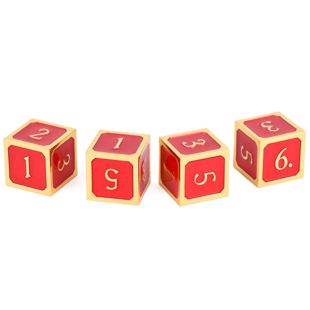 Set Of 4 D6 Metal Dice Set For D&D RPG Gaming And Tabletop Games