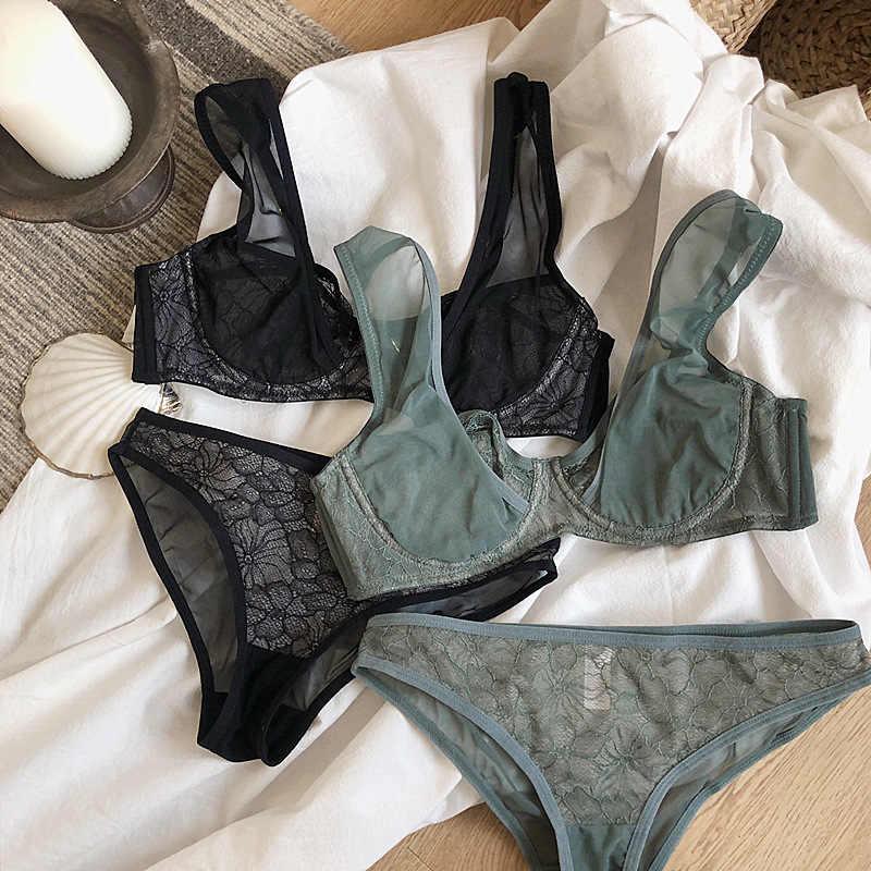 패션 그레나딘 브래지어 속옷 여자 플러스 사이즈 란제리 섹시한 C D 컵 초박형 투명 브래지어 팬티 레이스 브래지어 세트 블랙