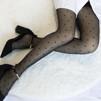 1PC  Women Pantyhose Tights Summer Nylon Polka Dot Print Stockings Seamless Fishnet Mesh Female Hosiery Vintage Faux Tattoo