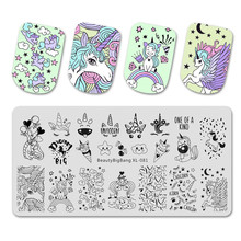 Beauty Bigbang Stempelen Platen Leuke Eenhoorn Cloud Ster Ijs Patroon Nail Art Mold Tool Accessoires Stempel Template XL-081(China)