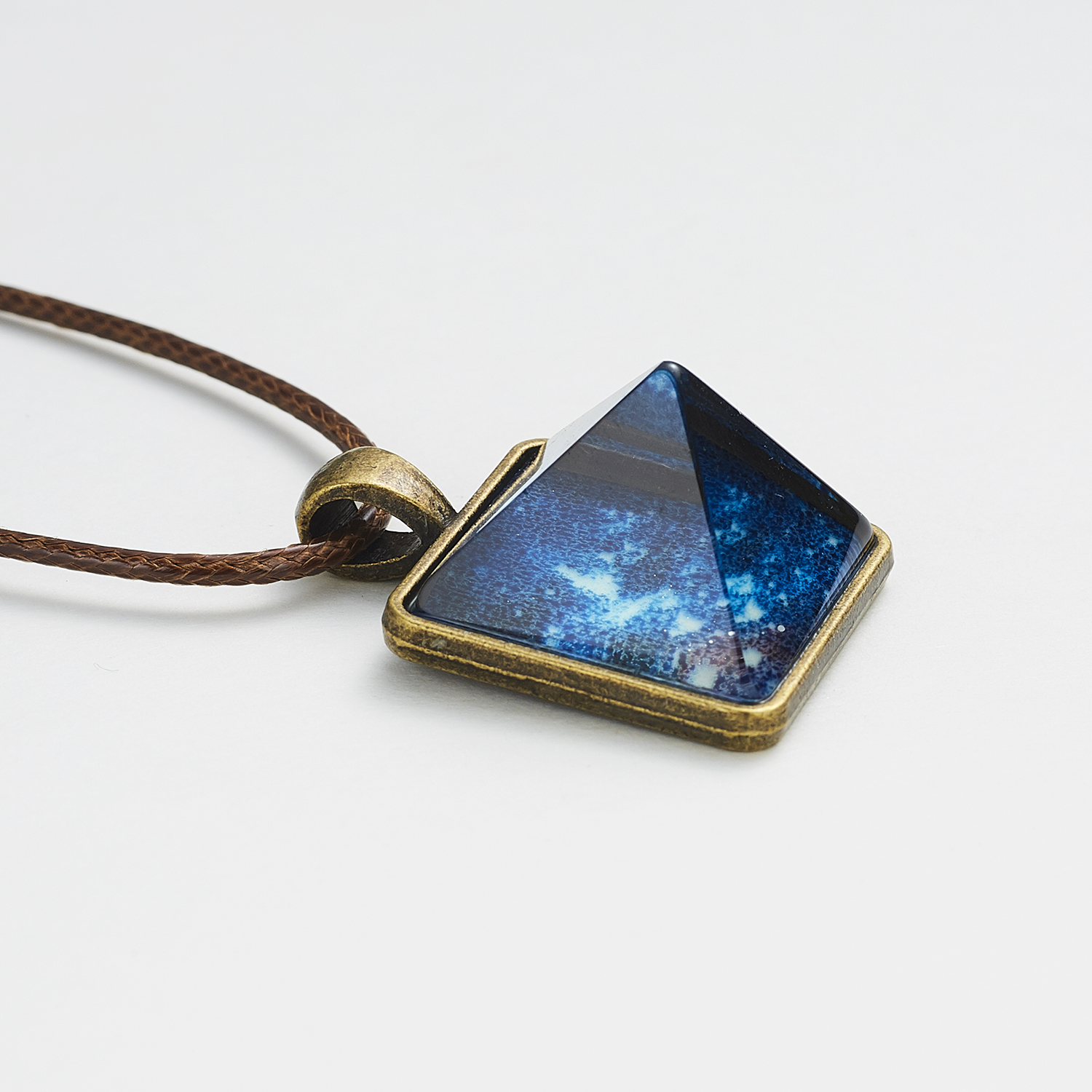 Vintage Crystal Glow In The Dark Necklace Pyramid Pendant Space Star Triangle Geometric Luminous Necklace for Women Men Gift image