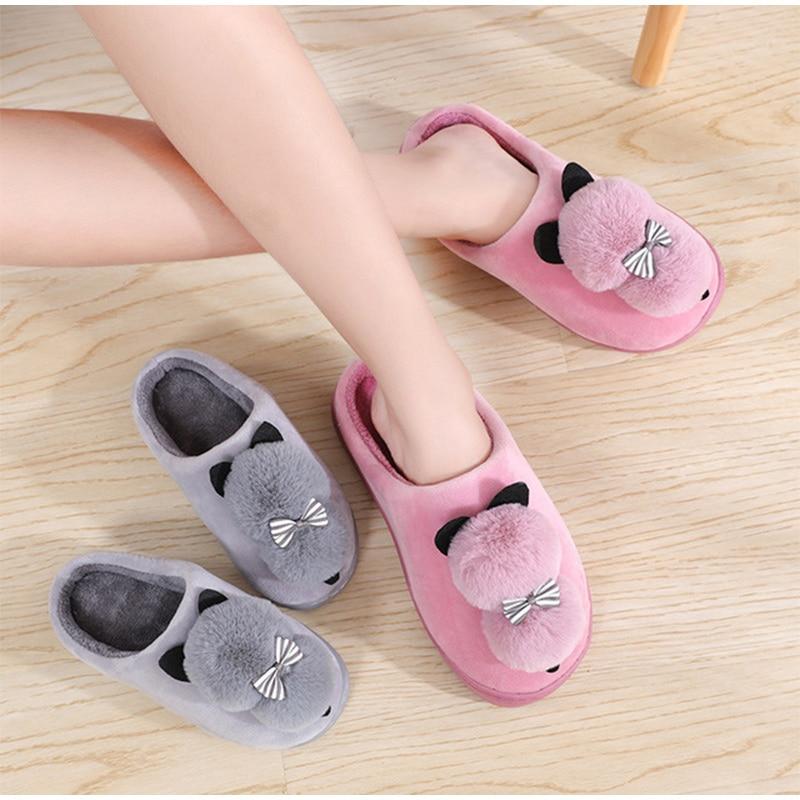 Non-Slip Pom Pom Cat Slippers