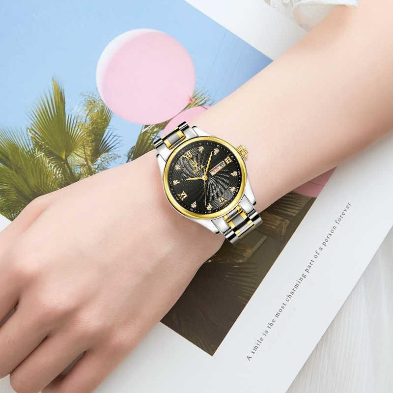 คุณภาพสูงผู้หญิงควอตซ์นาฬิกาผู้หญิงTopยี่ห้อLuxury Goldกันน้ำวันที่นาฬิกาข้อมือกีฬานาฬิกาRelogio Feminino