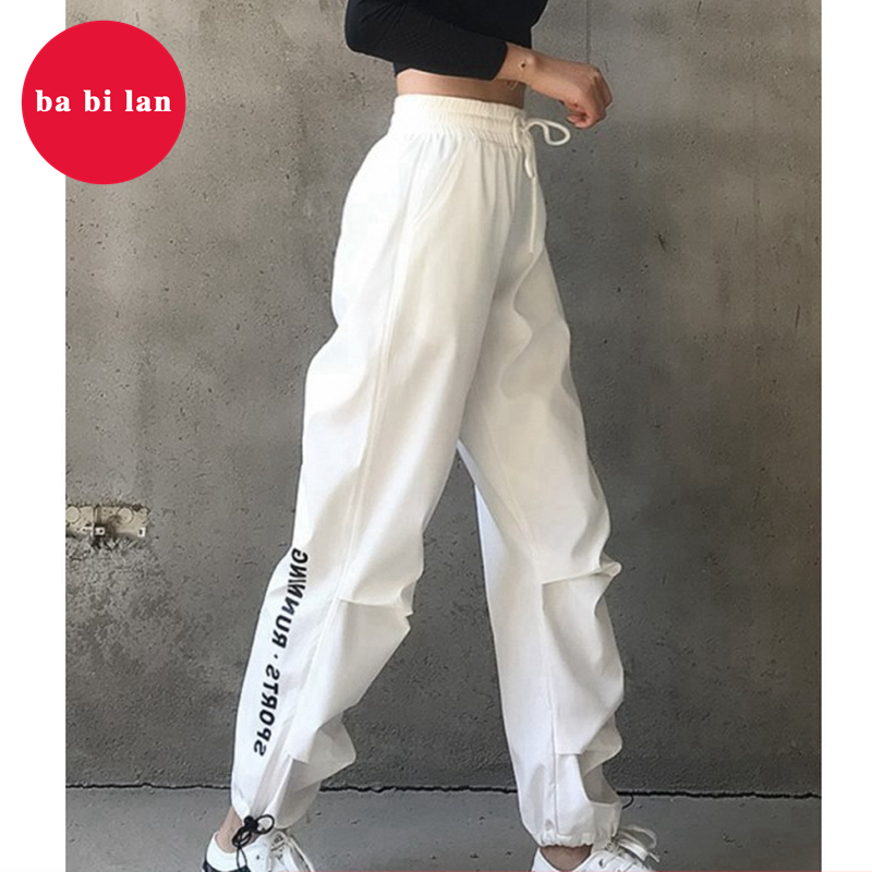 2020 Spring General Loose Women Harajuku Hong Kong Style High Waist Casual Pants INS  Pants Athletic Hip Hop Beam Pants