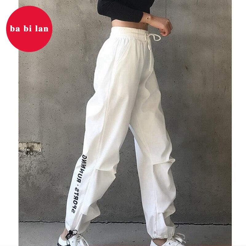 2020 Spring General Loose Women Harajuku Hong Kong Style High Waist Casual Pants INS  Pants Athletic Hip Hop Beam Pants