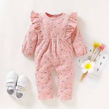 Baby Spring Autumn Clothing Infant Baby Girls Cotton Long Sleeve Ruffles Floral Print Romper Jumpsuit Newborn Baby Clothes izabebe baby boys girls romper cotton long sleeve jumpsuit infant clothing autumn newborn baby clothes