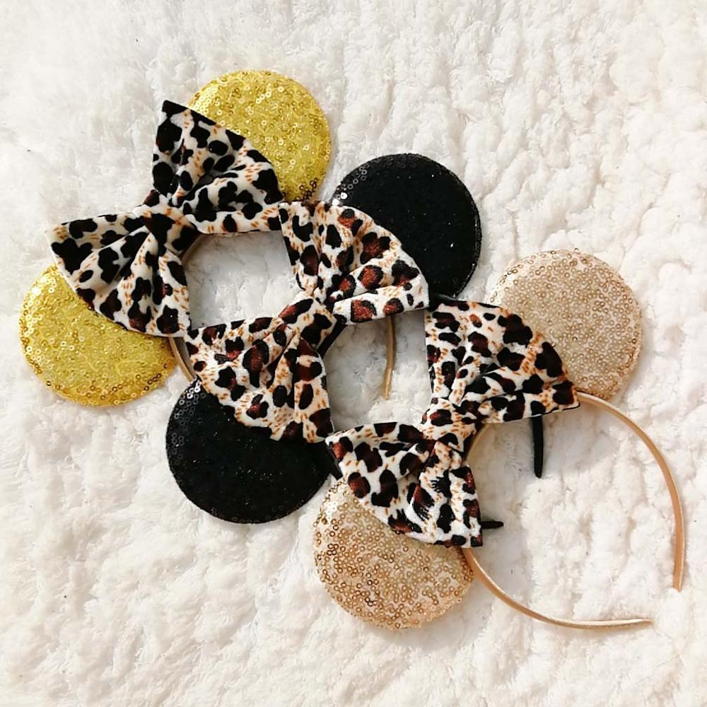 Leopard Gold Minnie Mouse Ears Anna&Elsa Headband Festival DIY Hair Accessories Headwear Sequins Bow Hairband For Girls Women