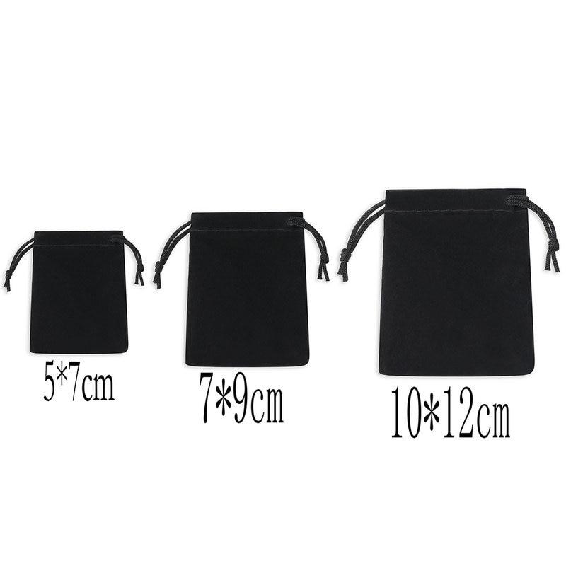 100Pcs / Lot Velvet Black 3 Sizes Jewelery Gift Bags Brace Strap Pouches Wholesale10*12cm 7*9cm 5*7cm