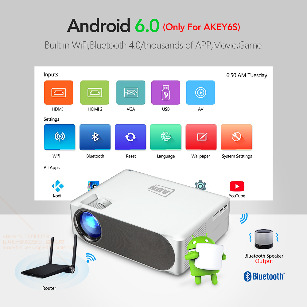 Image 4 - AUN 2019 New Full HD Projector AKEY6, 1920x1080P, Optional AKEY6S Android WIFI 3D Video Beamer, LED Projector for 4K Home Cinema    -