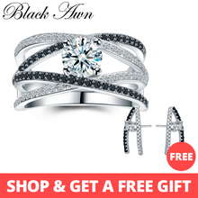 [Черный ость] 925 пробы Серебряные кольца для Для женщин полые обручальное кольцо Бижу Bague подарок стерлингового Серебряные ювелирные изделия C012