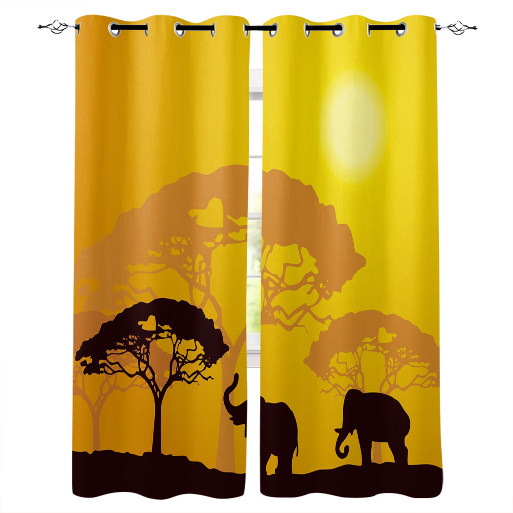 Elephant Forest Jungle Orange Window Curtains Living Room Kitchen Curtains For Bedroom Left And Right Biparting Open Curtains