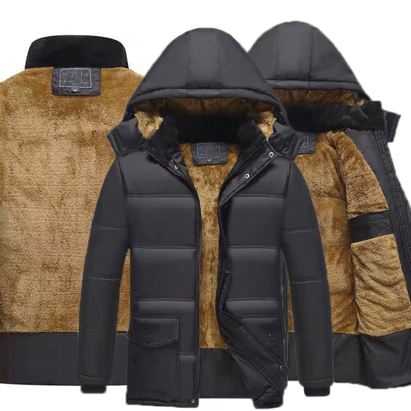 New Thicken Warm Parkas Winter Casual Clothes Male Jacket OutCoat Man's Jackets Outwear Hooded Men Plus Velvet Coats Clotheing