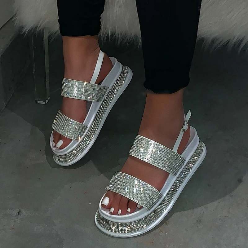 Summer Beach Bling Bling Crystal Rome Ladies Sandals Rhinestone Platform Mixed Color Cutouts Wedges Women Sandals Shoes Woman