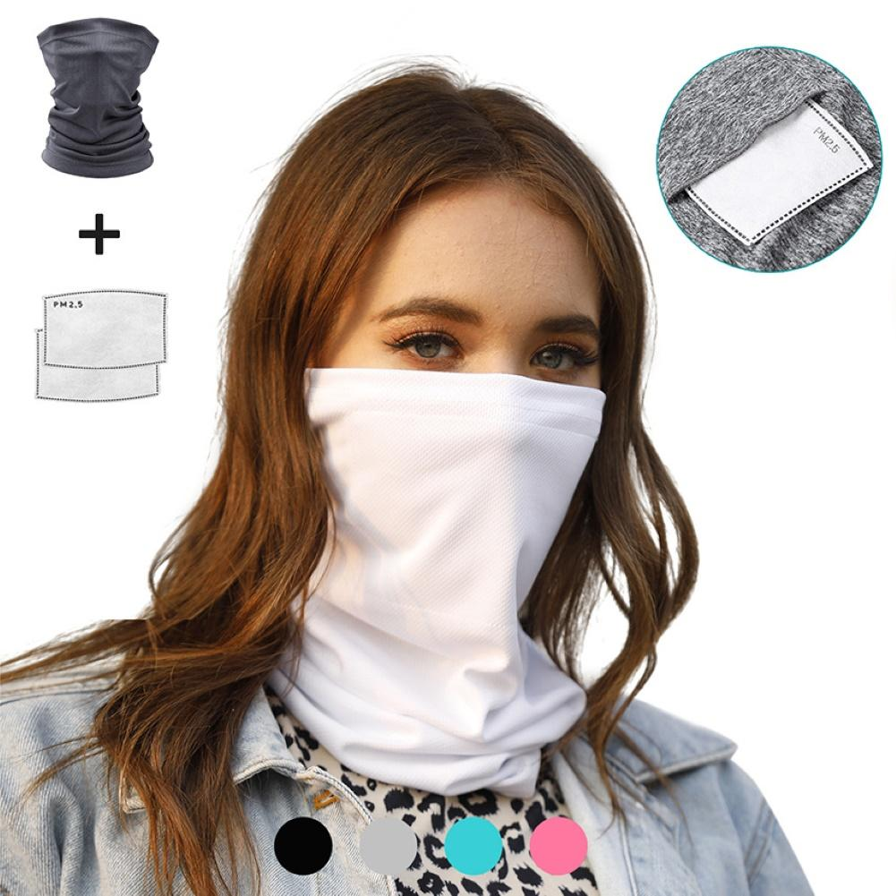 Scarf Summer 1+2pcs Outdoor Cycling Anti UV Dust Bandana Face Cover Neck Gaiter Scarf With Filters Women